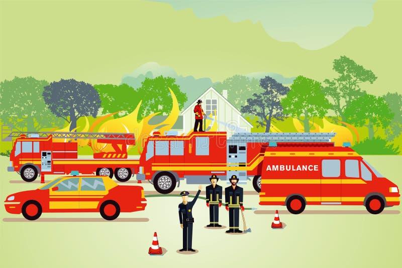 Brandbekämpningillustration vektor illustrationer