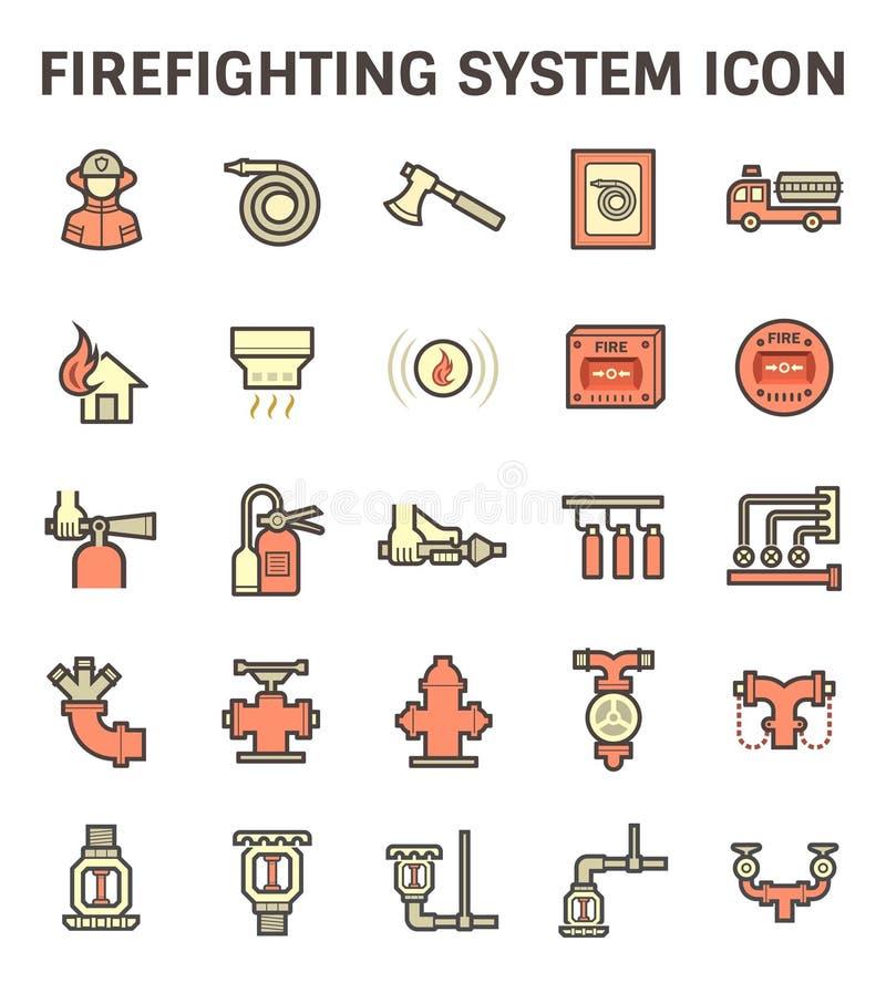 Brandbekämpningsystemsymbol vektor illustrationer