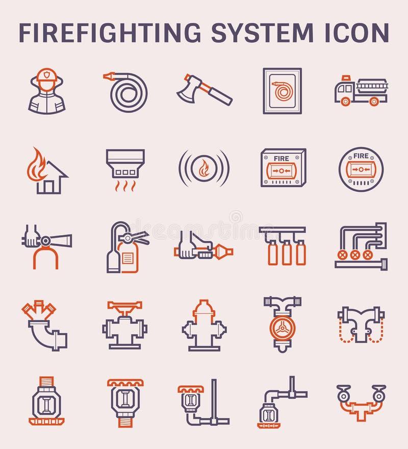Brandbekämpningsystemsymbol stock illustrationer