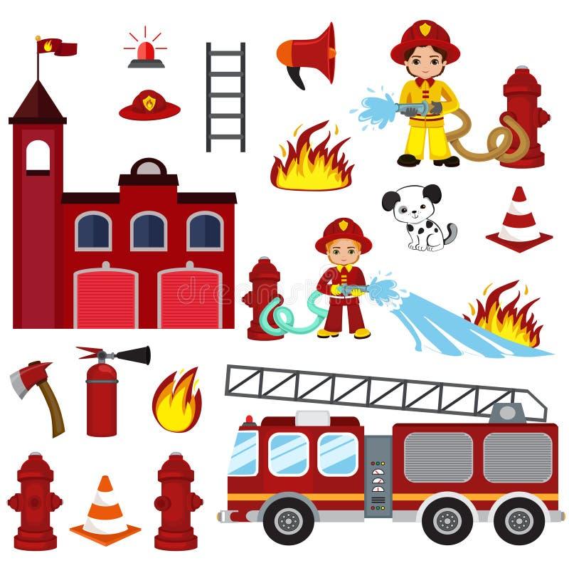 Brandbekämpningtecken, slang, brandstation, brandmotor, brandlarm, eldsläckare, yxa och vattenpost royaltyfri illustrationer