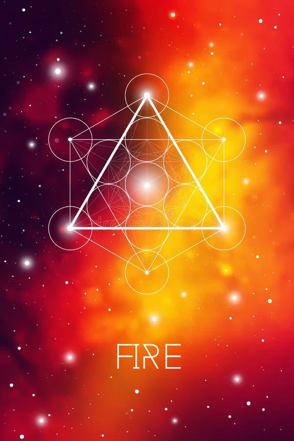 Brandbeståndsdelsymbol inom den Metatron kuben och blomman av liv framme av kosmisk bakgrund för yttre rymd sakral geometri vektor illustrationer