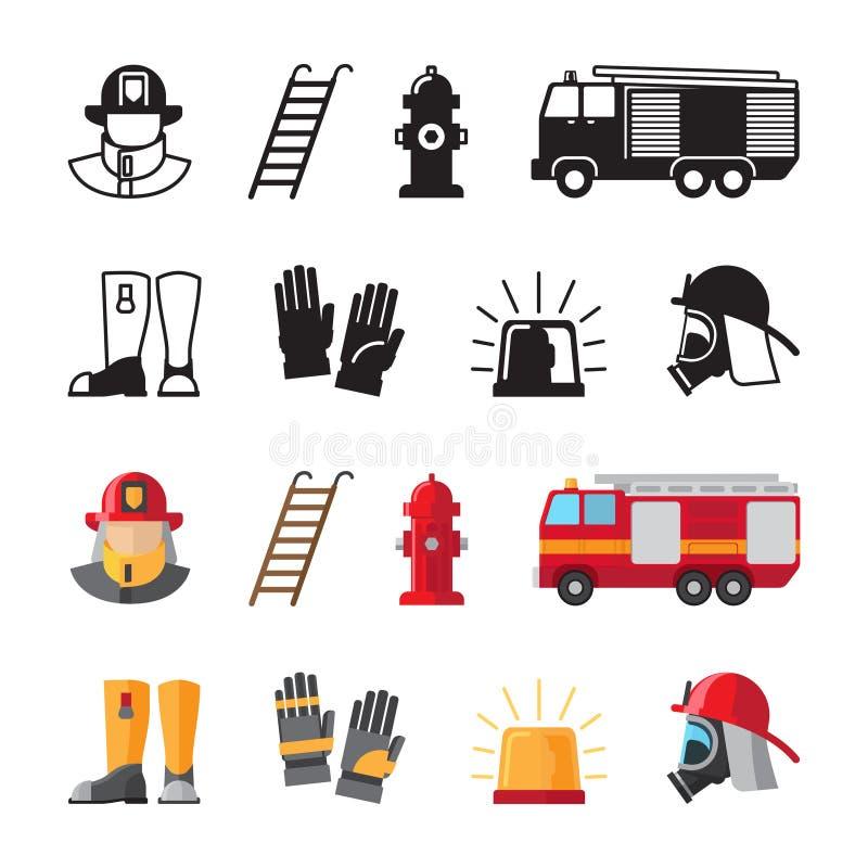 Brandbestrijder accessorises, de vectordiepictogrammen van brandweermanhulpmiddelen op witte achtergrond worden geïsoleerd stock illustratie