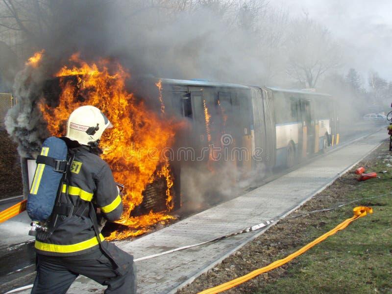 Brandbestrijder in actie stock fotografie