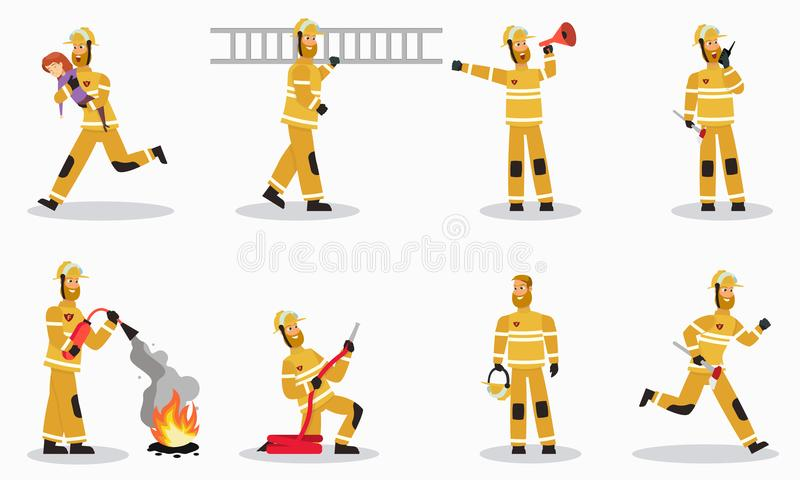 Brandbestrijder bij de VectorSet van tekens van het het Werkbeeldverhaal stock illustratie