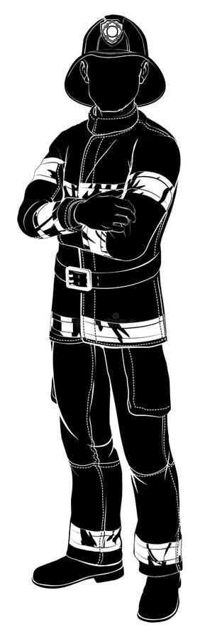 Brandbestrijder of brandweermansilhouet stock illustratie