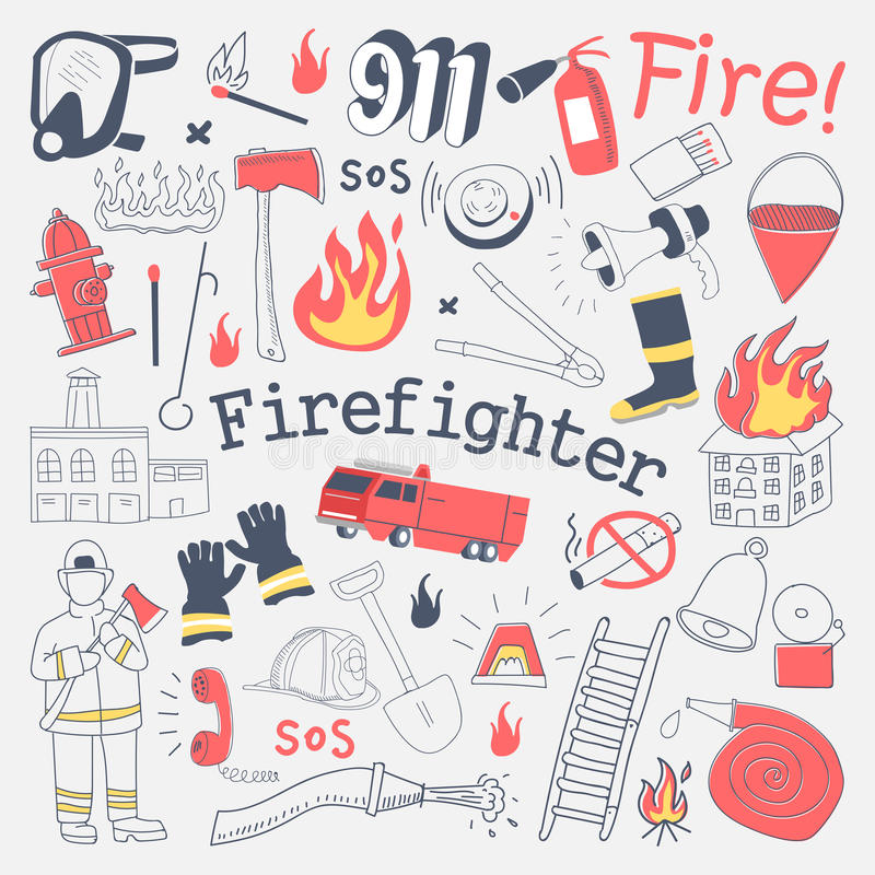Brandbestrijder Freehand Doodle Brandweerman met brandblusapparaat en Materiaalhand Getrokken Geplaatste Elementen stock illustratie