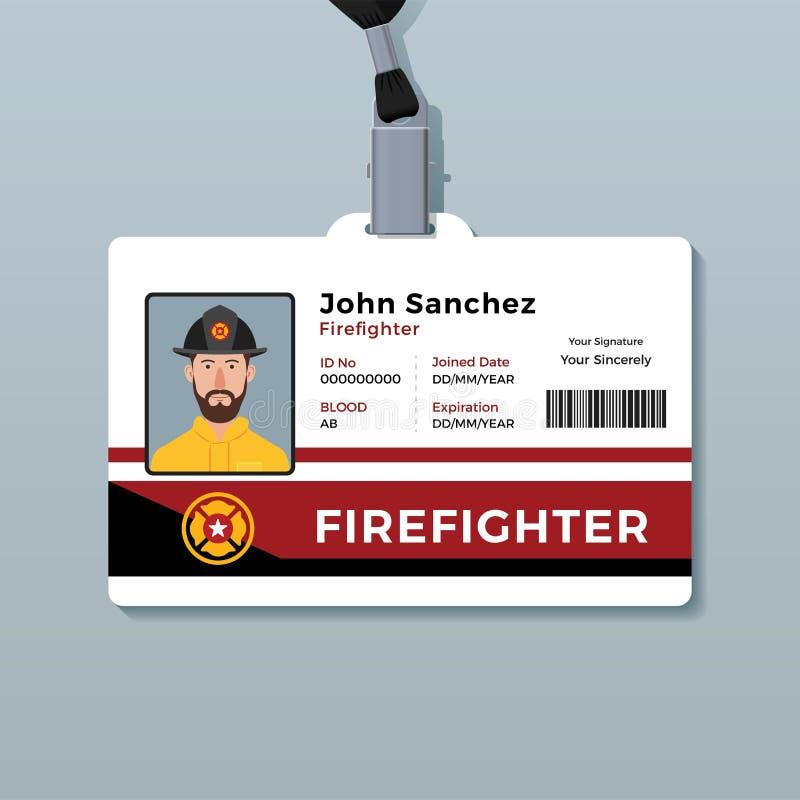 Brandbestrijder ID Card Template stock illustratie