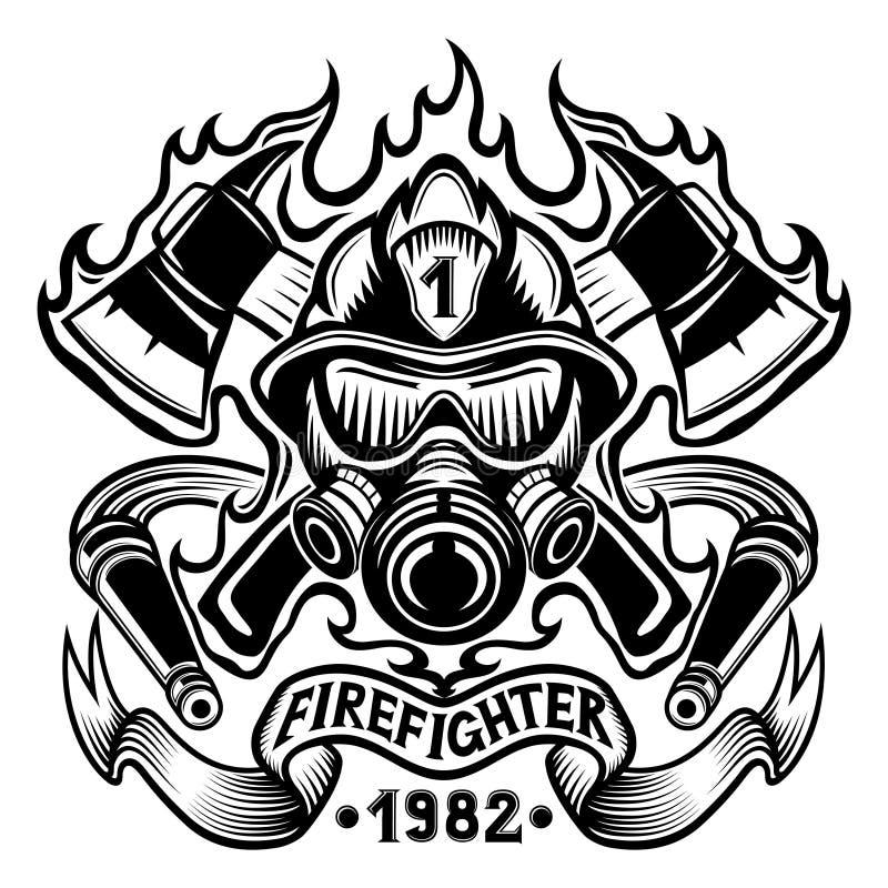 Brandbestrijder met assen in vlam royalty-vrije illustratie