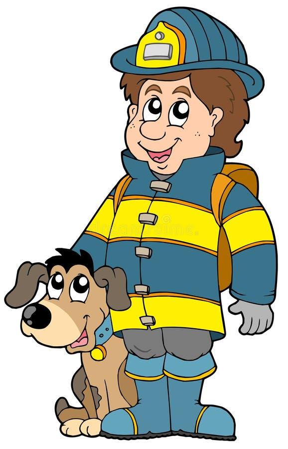 Brandbestrijder met hond stock illustratie