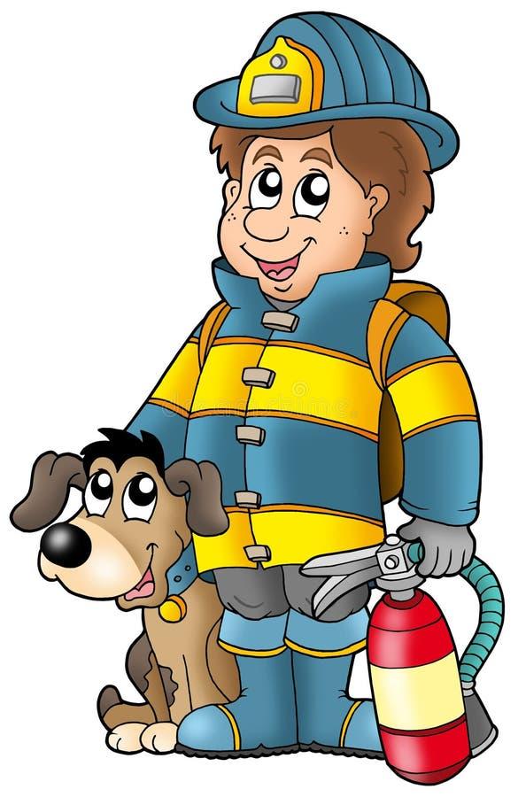 Brandbestrijder met hond en brandblusapparaat vector illustratie