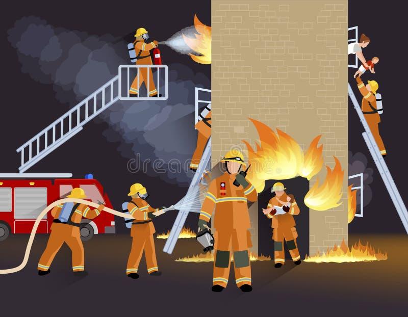 Brandbestrijder People Design Concept vector illustratie