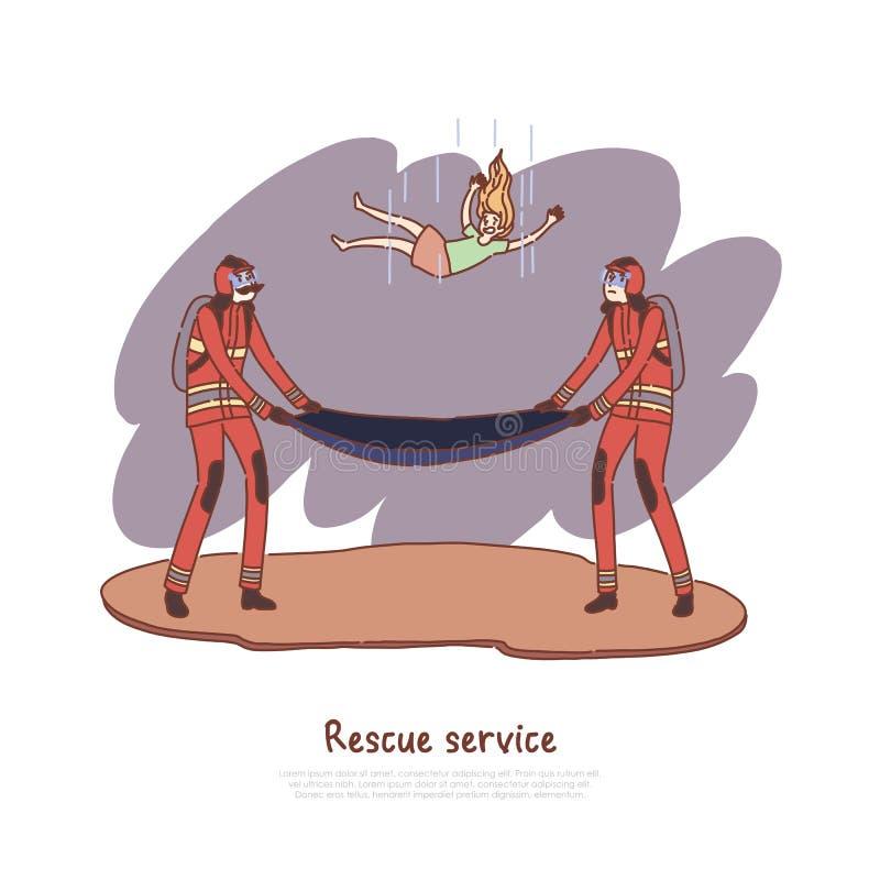 Brandbestrijders die dalend jong geitje, gevaarlijke situatie die, mensen vangen kind, professionele brandbestrijdingsbemanning,  stock illustratie