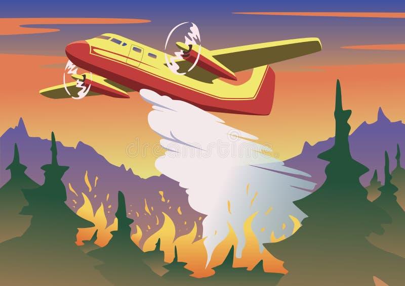 Brandbestrijdingsvliegtuig het dalen water boven het branden bos Luchtbrandbestrijding en wildfire concept in kleur Vlakke vector vector illustratie