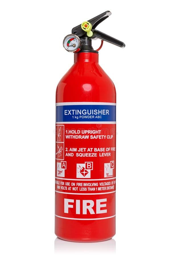Brandblusapparaat dat op wit met het knippen van weg wordt geïsoleerd stock afbeelding