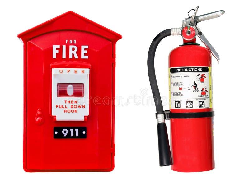 Brandblusapparaat en alarm geïsoleerde doos stock foto's