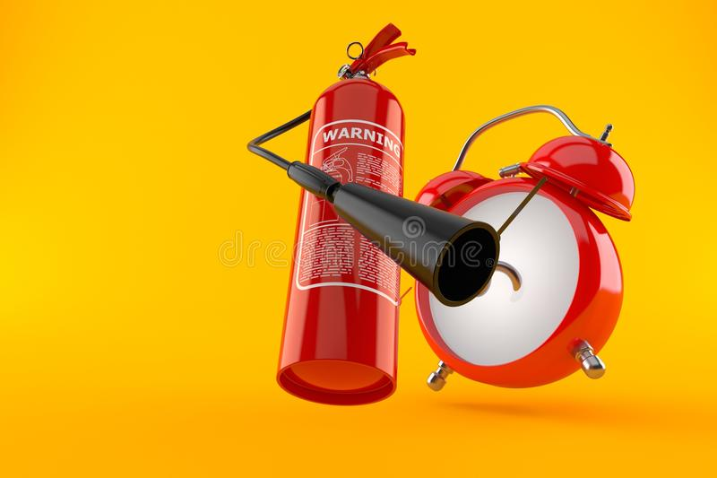 Brandblusapparaat met wekker royalty-vrije illustratie