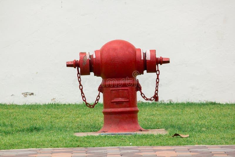 Brandblusapparaat op het gazon stock afbeeldingen