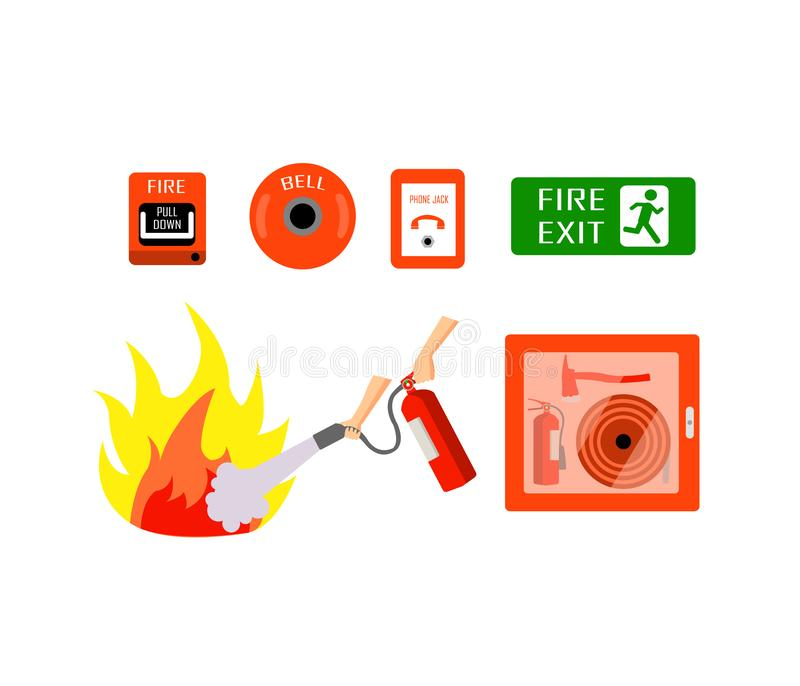 Brandblusapparaat voor noodgevallen In het geval van een brand, zoek deze royalty-vrije illustratie