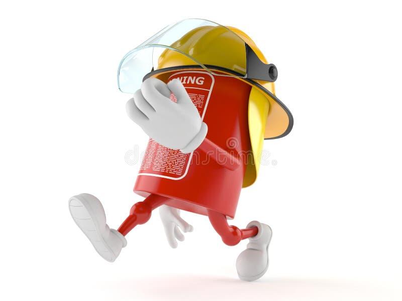 Brandblusapparaatkarakter het lopen vector illustratie