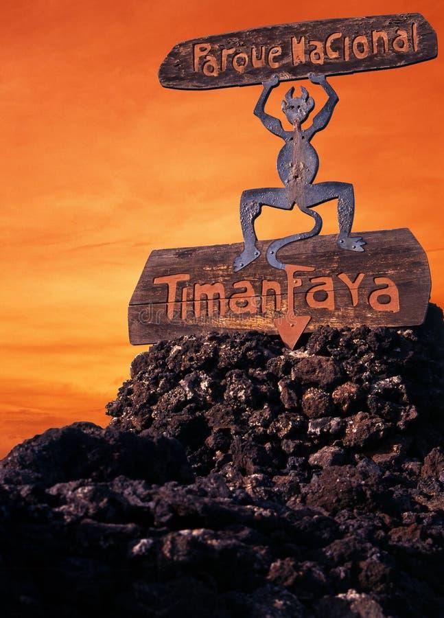 Brandduivel, Timanfaya, Lanzarote. stock afbeeldingen
