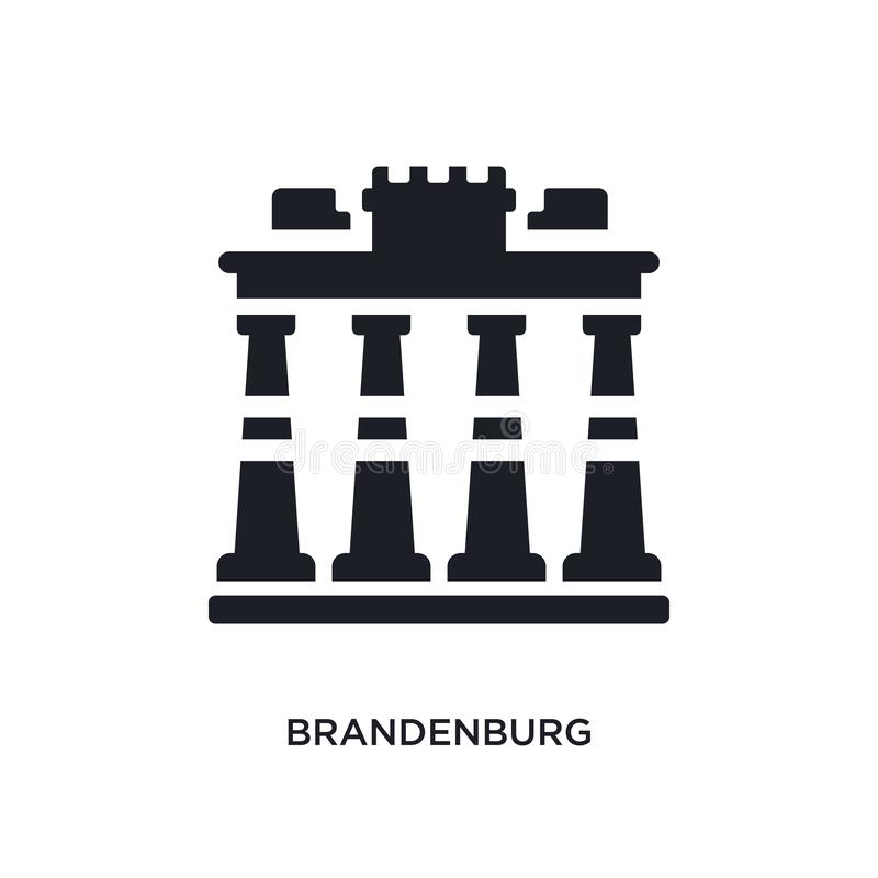 Brandebourg noir a isol? l'ic?ne de vecteur illustration simple d'?l?ment des ic?nes de vecteur d'architecture et de concept de v illustration de vecteur