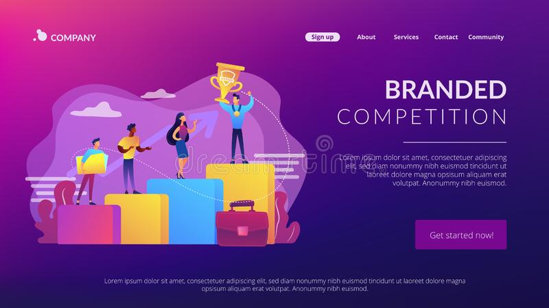 Branded competition concept landing page. Best worker, specialist. Event sponsorship. Employee victory. Branded competition, marketing competitive event stock illustration