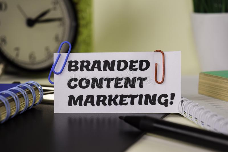 Branded Content Marketing on the paper isolated on it desk. Business and inspiration concept royalty free stock photo
