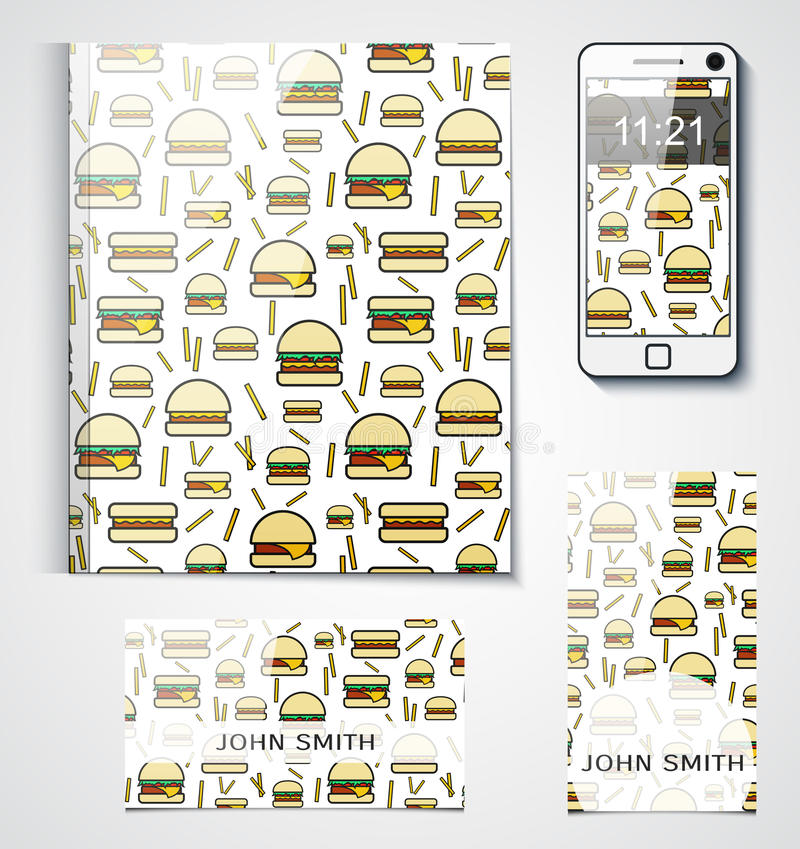 Branded Product Design With The Background Of Hamburgers Stock ...