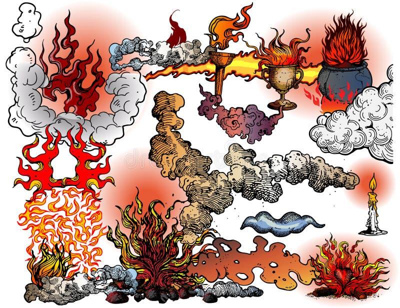 Branden en vlammen vector illustratie