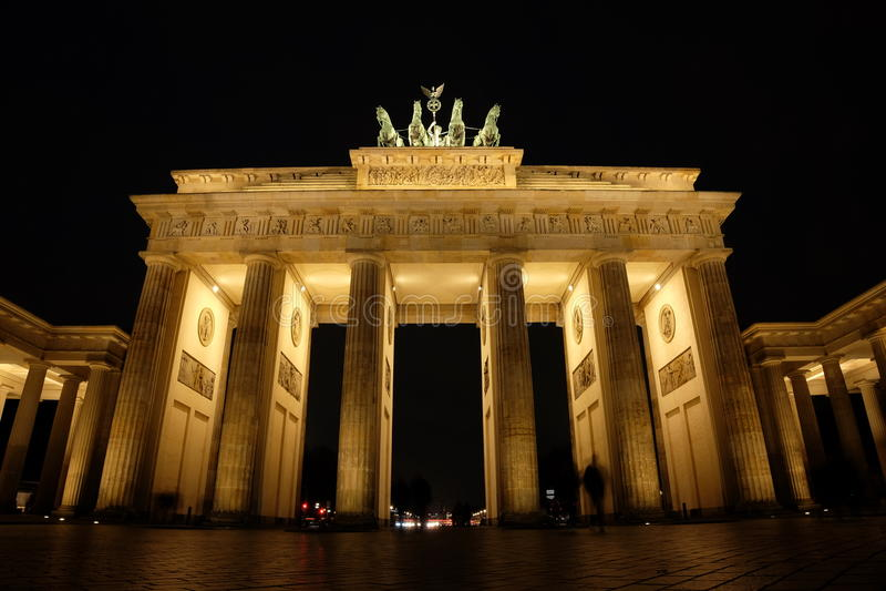 Brandenberg Gate. Shot at night, Berlin royalty free stock photography