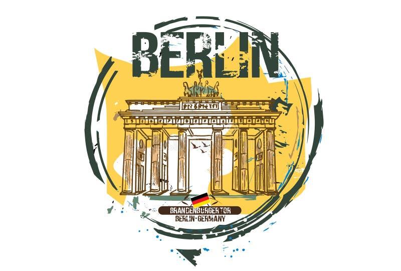 Brandenburg brama Berlin, Niemcy,/ ilustracji