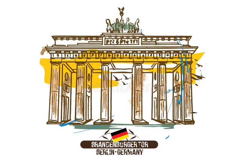 Brandenburg brama Berlin, Niemcy,/ ilustracja wektor