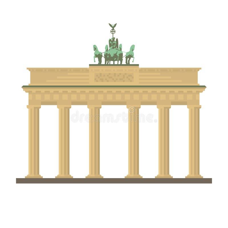 Brandenburg brama przy Berlińską płaską projekta wektoru ikoną ilustracja wektor