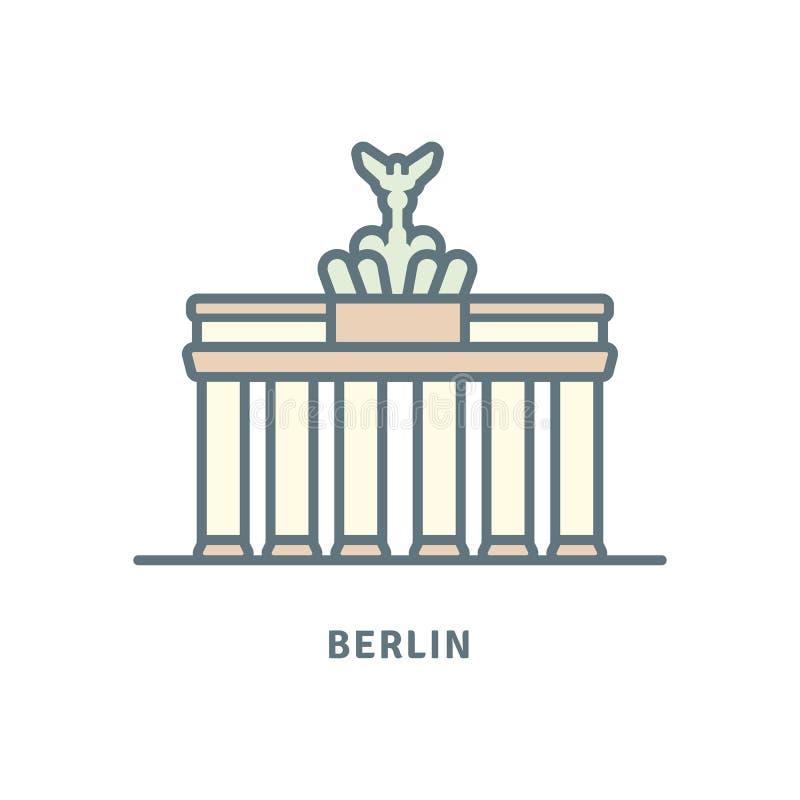Brandenburg brama przy Berlińską wektorową ilustracją royalty ilustracja