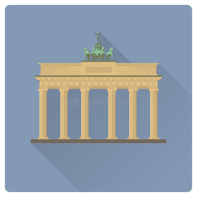 Brandenburg brama przy Berlińskiego płaskiego projekta cienia długim illustrat royalty ilustracja