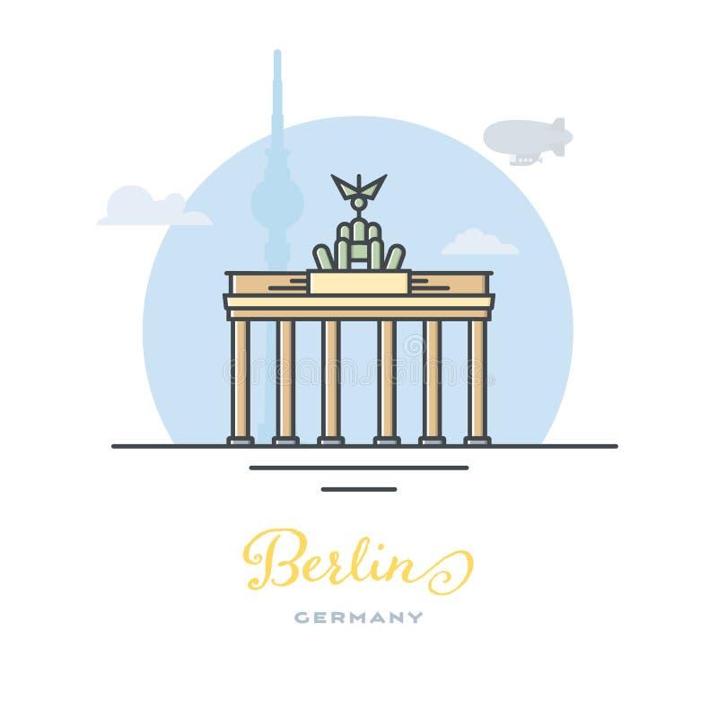 Brandenburg brama przy Berlin, Niemcy, płaska wektorowa ilustracja royalty ilustracja