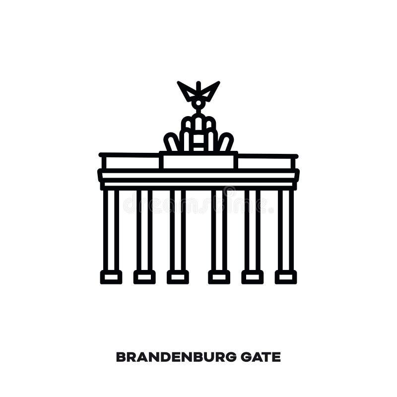 Brandenburg brama przy Berlin, Niemcy, wektor kreskowa ikona ilustracja wektor