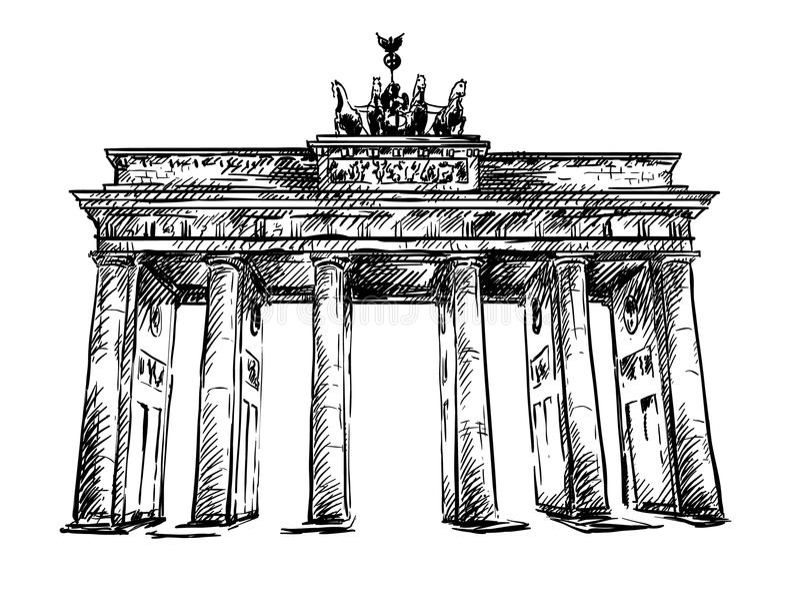 Brandenburg brama. Wektorowy nakreślenie. royalty ilustracja