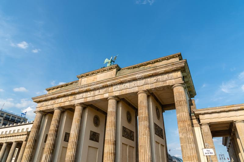 The Brandenburg Gate in Berlin at evening stock images