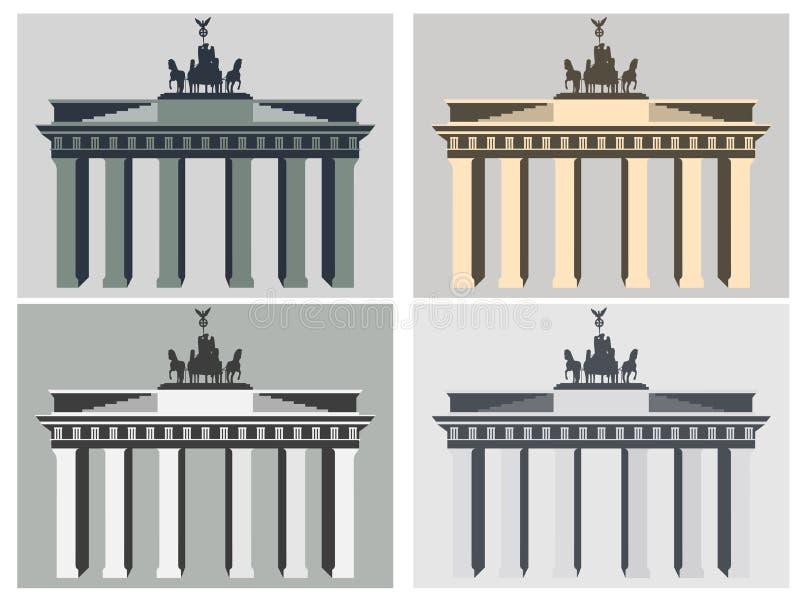 Brandenburg Gate in Berlin. Flat icon set. Harmonious colors. Vector illustration stock illustration