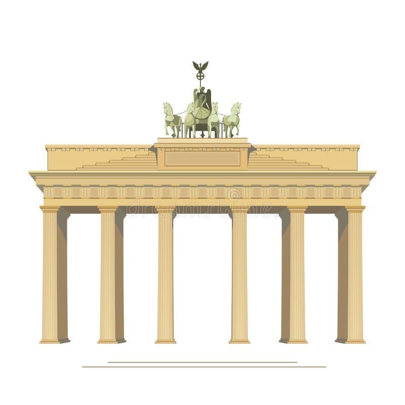 Brandenburg Gate in Berlin Germany vector detailed color illustration for design. royalty free illustration
