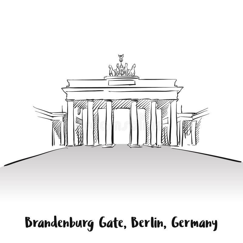 Brandenburg Gate Berlin Greeting Card. Hand-drawn Vector Outline Sketch royalty free illustration
