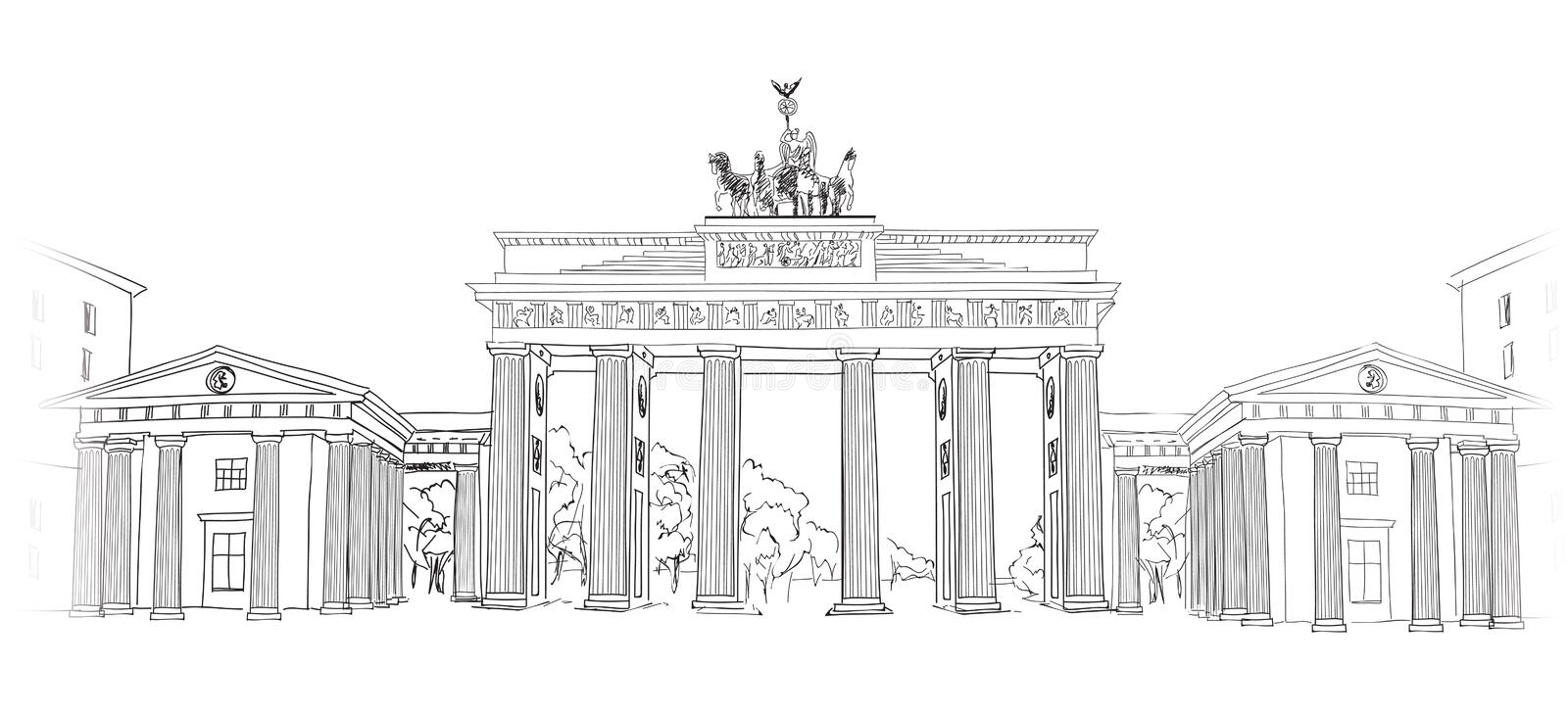 The Brandenburg gate in Berlin. Hand drawn pencil sketch illustration. Brandenburger Tor in Berlin, Germany. Hand drawing illustration isolated on white vector illustration