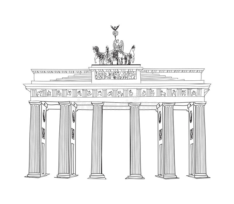The Brandenburg gate in Berlin. Hand drawn pencil sketch illustration. Brandenburger Tor in Berlin, Germany. Hand drawing travel label isolated on white vector illustration