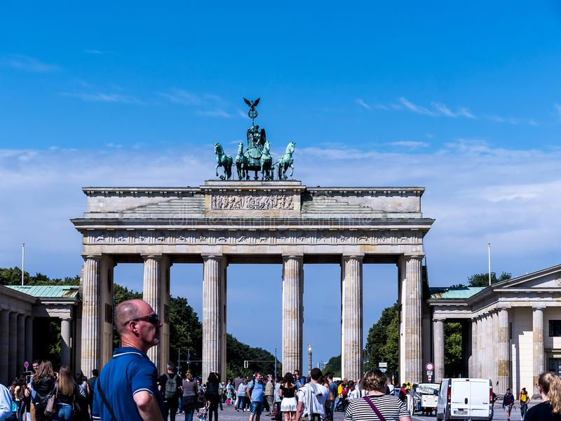 The Brandenburg Gate is Berlin`s most famous landmark. A symbol of Berlin and German division during the Cold War royalty free stock image