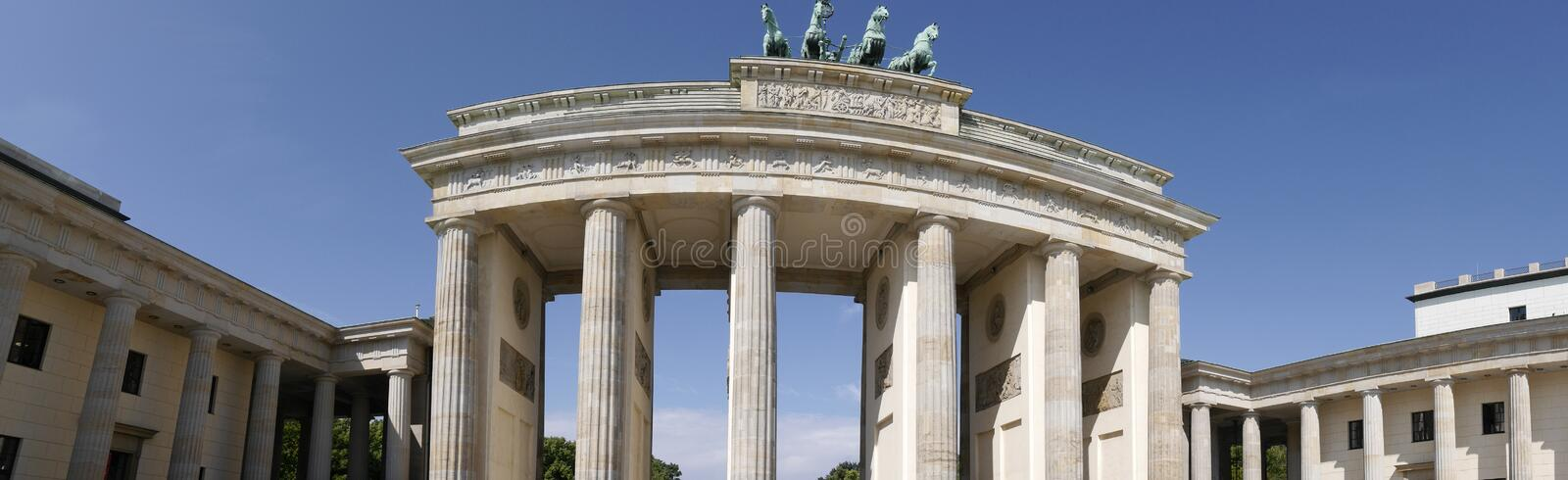 The Brandenburg Gate is Berlin`s most famous landmark. A symbol of Berlin and German division during the Cold War stock image