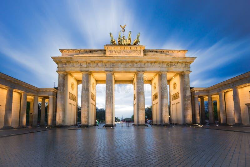 Brandenburg gate or Brandenburger Tor in Berlin, Germany at nigh stock image