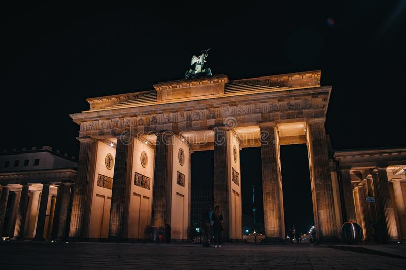 Brandenburg Gate Brandenburger Tor in Berlin, Germany. At night royalty free stock images