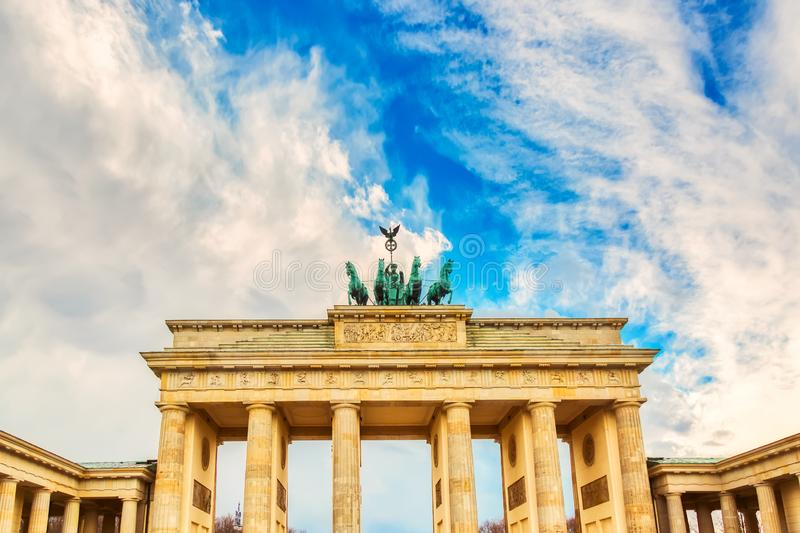 Brandenburg Gate Brandenburger Tor details in Berlin, Germany during bright day with a blue sky. Famous landmark in Berlin royalty free stock photography