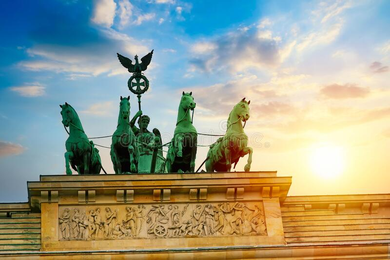 Brandenburg Gate Brandenburger Tor details at sunset in Berlin, Germany.  royalty free stock photos